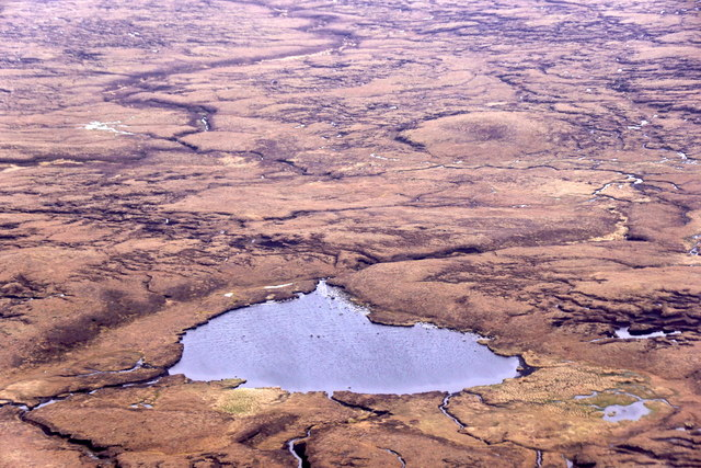 Lochan on the Hill of Hamarsland, Tingwall, from the air