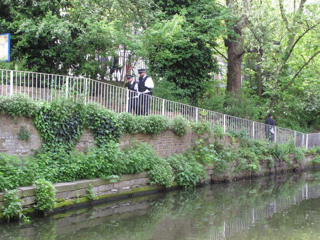Police on beat by Regent's Canal, Islington
