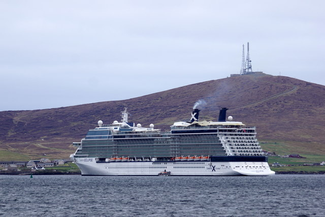 The cruise ship Celebrity Eclipse in Lerwick harbour