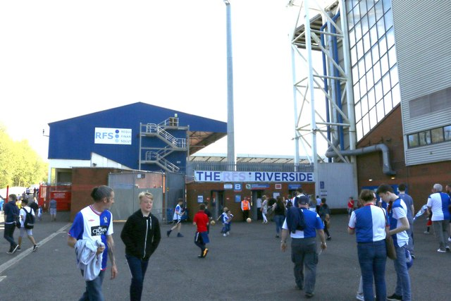 The entrance to the Riverside Stand at Ewood Park
