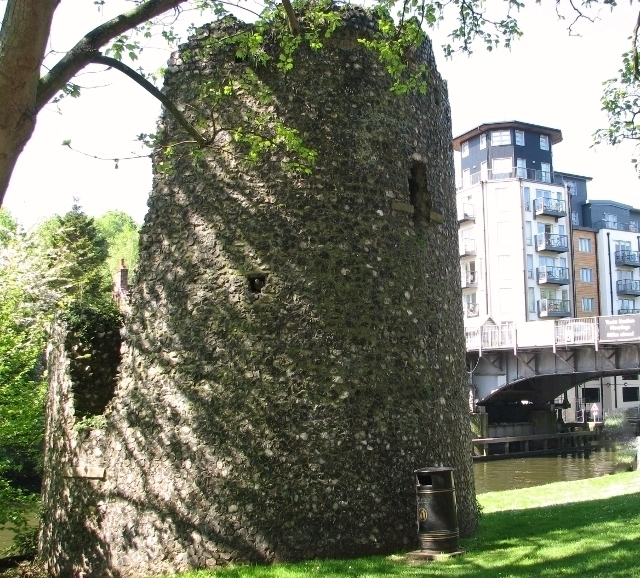 One of the ancient pair of boom towers by the River Wensum