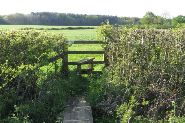 Footbridge and stile on the Ouse Valley Way