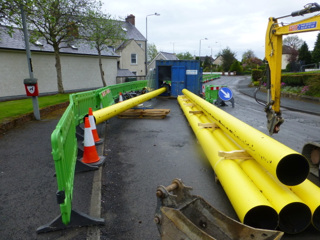 Gas pipeline pipes being joined together, Omagh