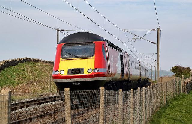A Virgin train on the East Coast Railway