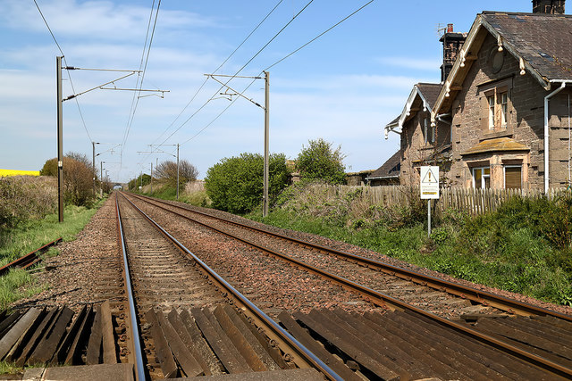 The East Coast Railway Line at Scremerston Level Crossing