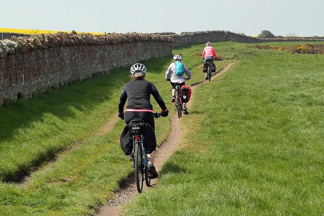Cyclists on the Northumberland Coast Path
