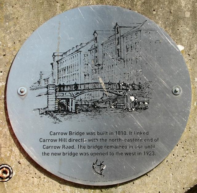 Old Carrow Bridge abutment - plaque