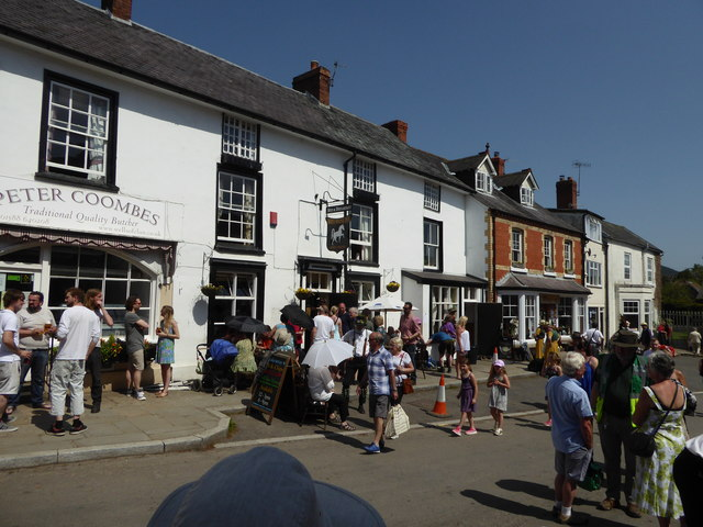The centre of Clun in May