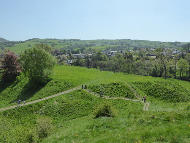 View from Clun Castle towards the church in May