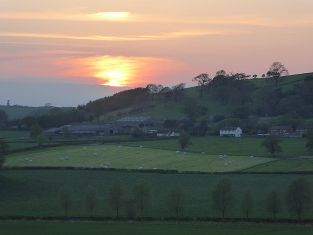 Sunset over Eyton, Shropshire in May