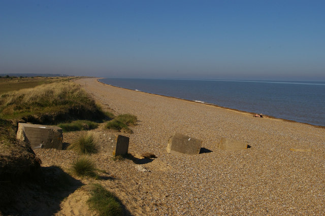 Looking north up the coast at Minsmere Haven
