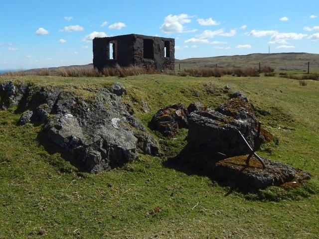 Concrete base near ruin