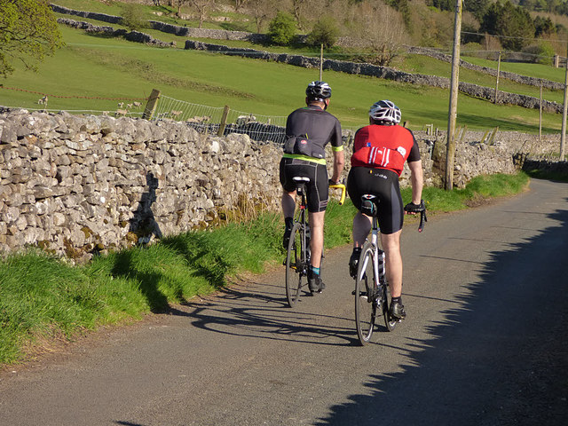 Cyclists on the back lane from Kettlewell to Conistone