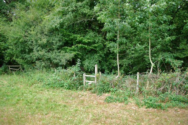 Stile on footpath towards Brook Farm