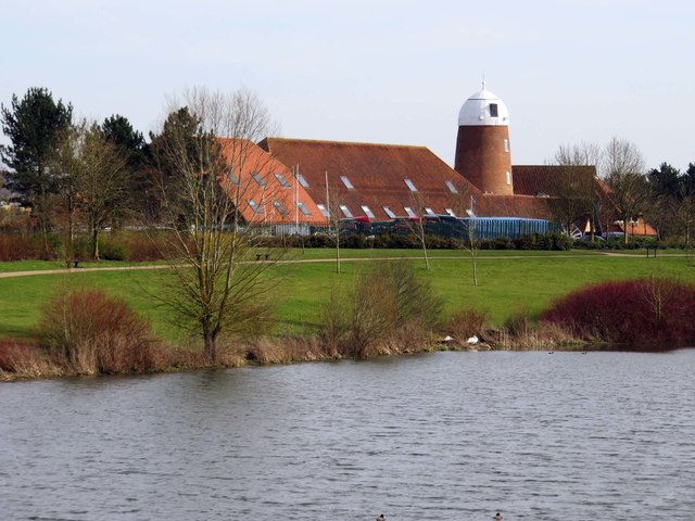 Looking across Caldecotte Lake to the Premier Inn