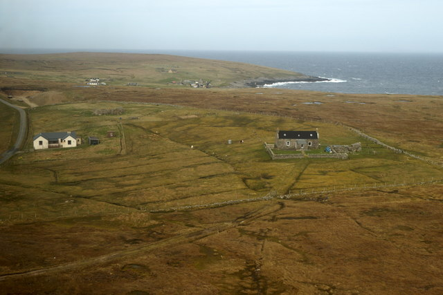 The Manse and Mornington, Foula, from the air