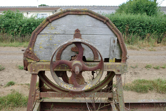 Old chaff cutter, driving pulley side, Bushbury Farm