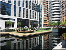 TQ2681 : Floating lawn play area, Paddington Basin by David Hawgood
