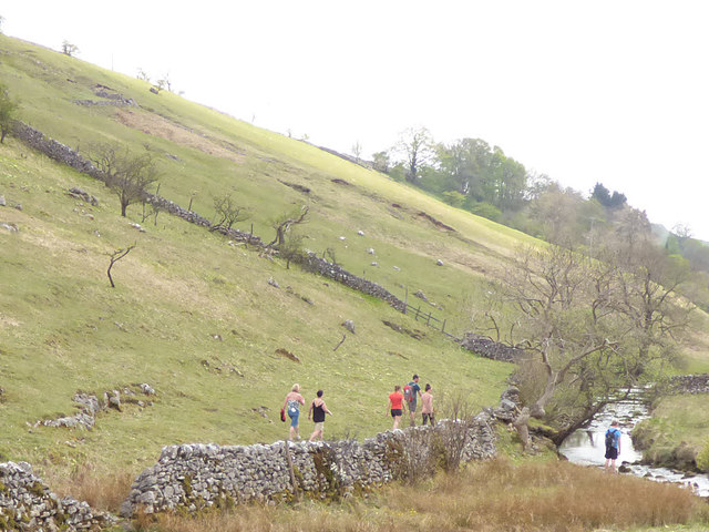 Walkers by Kettlewell Beck