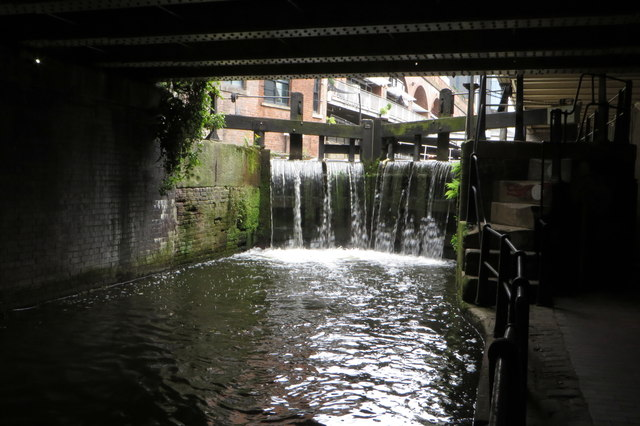 Overflowing lock gates on the Rochdale canal