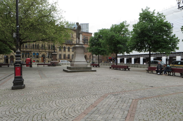 Albert Square with the statue of Oliver Heywood