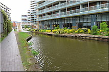 SJ8297 : Offices and shrubs on the Bridgewater Canal by Philip Jeffrey