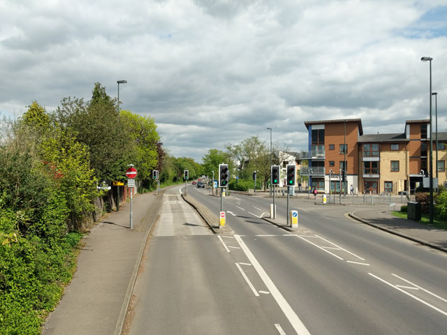 Traffic lights and guided bus lane, Haslett Avenue East, Crawley
