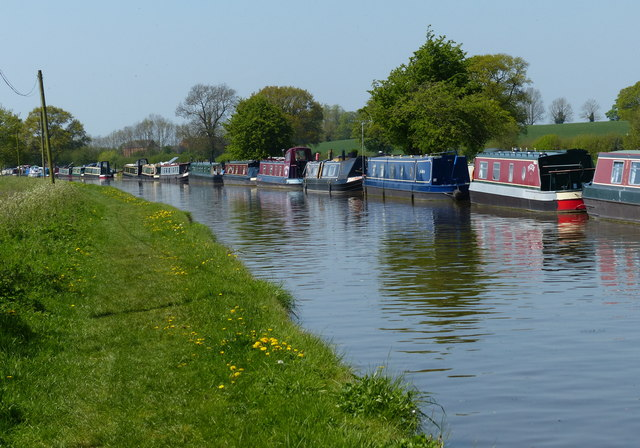 Moored narrowboats along the Shropshire Union Canal