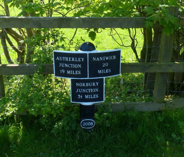 Shropshire Union Canal milepost near Shebdon Wharf