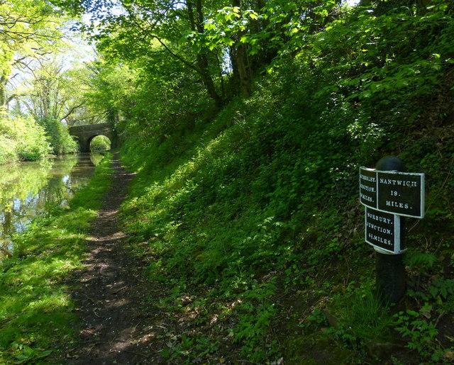 Shropshire Union Canal milepost at Knighton