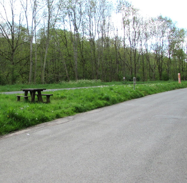 Picnic table in a layby north of Cwmdu, Powys