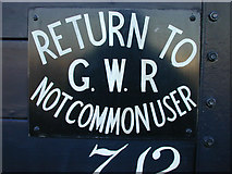 SU5290 : Didcot Railway Centre: Not Common User plate by Nigel Brown