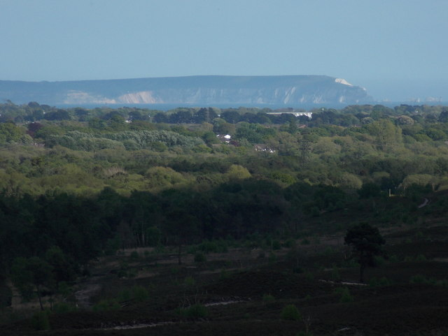 Hurn: view from Ramsdown to the Isle of Wight