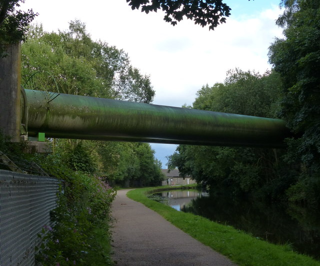 Esholt Pipebridge crossing the Leeds and Liverpool Canal