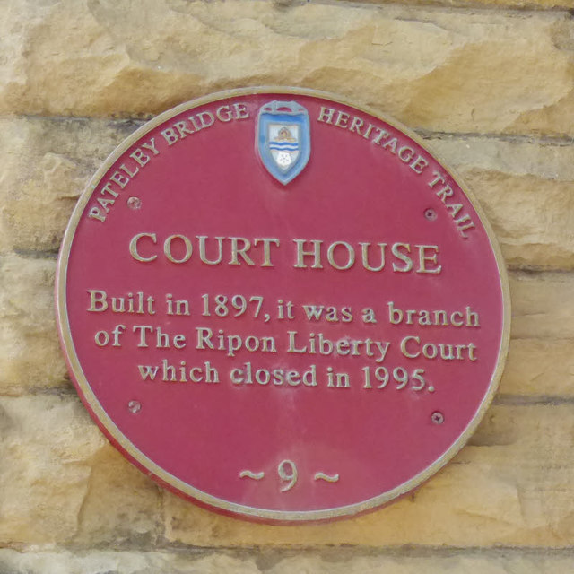 Former court house, Church Street, Pateley Bridge  - plaque