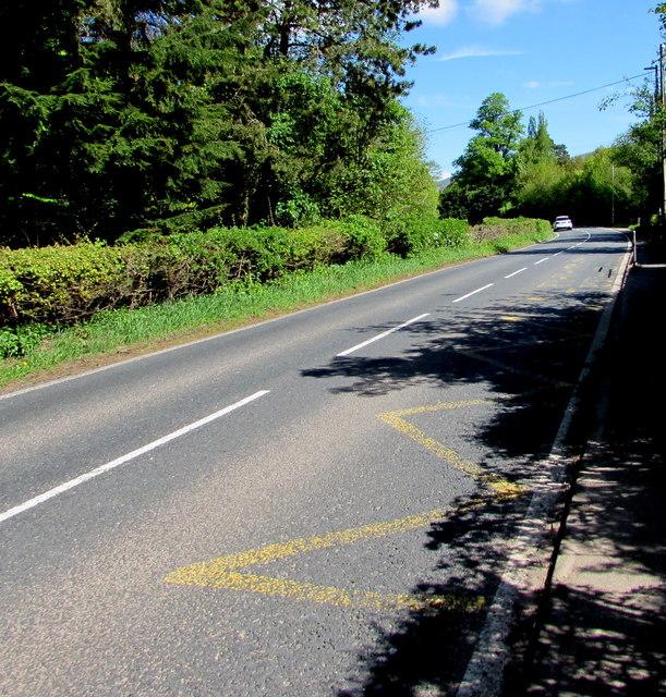 Zigzag yellow markings on the A479 near the former village school, Cwmdu, Powys
