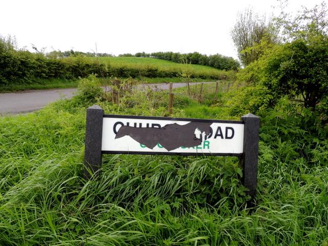 Damaged road sign, Church Road (1)