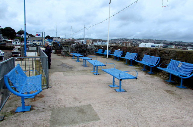 Blue metal benches on North Quay, Paignton