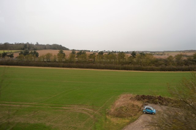 Field between railway line and A14