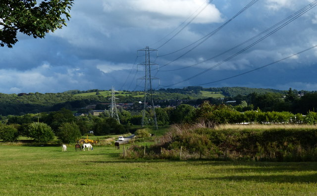 Power lines crossing the River Aire valley