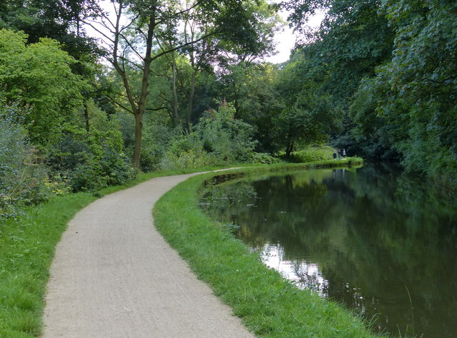 Towpath along the Leeds and Liverpool Canal at Lodge Wood