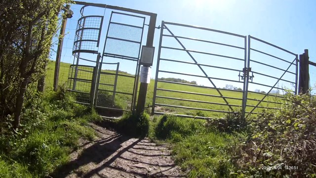Big gate on footpath Brede High Woods