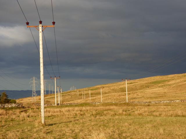 Power lines on Whitelees Moor