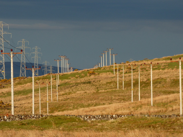 Power lines on Whitelees Moor