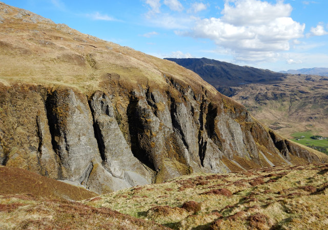 The craggy east bank of Slochd a' Mhogha