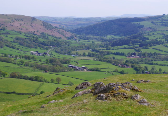 Summit of Caer Einon and Wye valley view