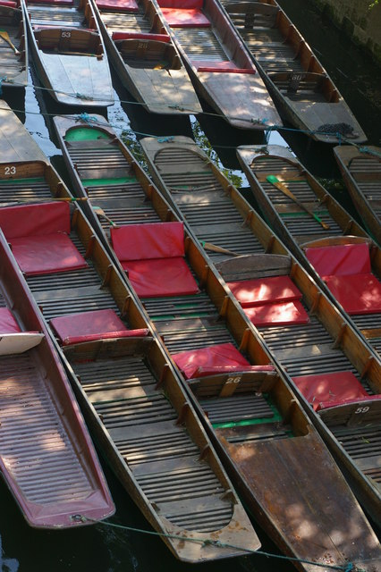 Oxford: looking down into punts from Magdalen Bridge