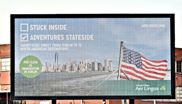 "Aer Lingus ""Stateside"" advertisement, Belfast (May 2018)"