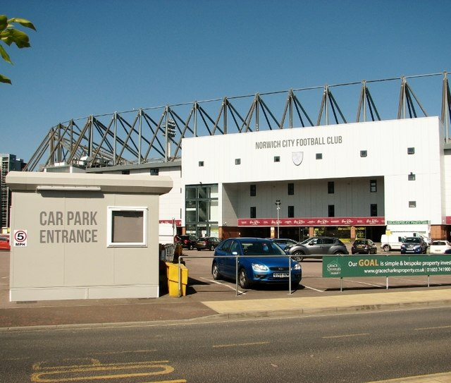 Entrance into the carpark of Carrow Road football stadium