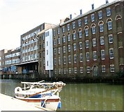TG2407 : Yacht 'Miffy' moored by the Carrow Works by Evelyn Simak